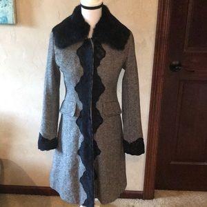 Heart Moon Star 100% Wool tweed Coat Rabbit Collar